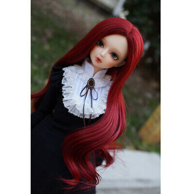 Stylish 1/3 BJD Big Wave Wigs Long Curly Hair For Dollfie Hairpiece Wine Red