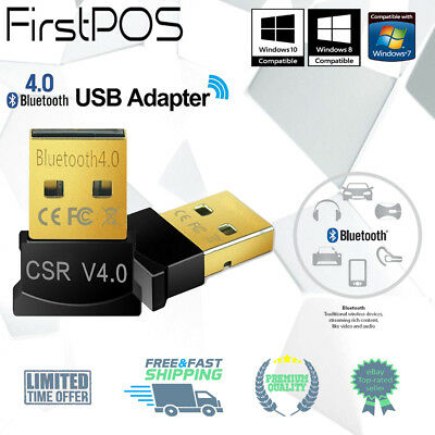 Wireless USB Bluetooth Adapter V4.0 CSR for Windows 7 8 10 PC Laptop