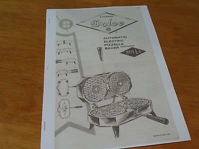 RARE Berarducci Dolce Automatic Electric Pizzelle Baker Copy of Manual & Recipes