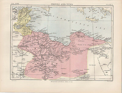 Tripoli and Tunis North Africa Original colour map 1875 W & A K Johnston