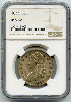 1833 50C Capped Bust Half Dollar NGC MS 62