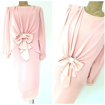 Vintage 80s Ursula Mother of the Bride Dress Size Medium Sheer Pink Chiffon Bow