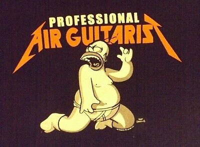Vintage Xl Black Long Sleeve Homer Simpson Air Guitarist  Crew Neck  T Shirt