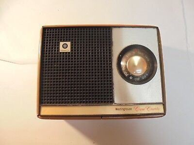 Vintage Westinghouse Cross Country Transistor Radio with Brown Leather Case