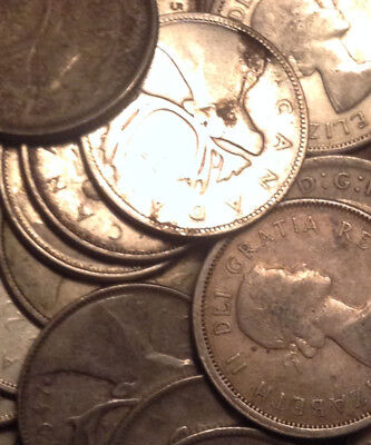 Big Lot Of Silver Canada 25 Cents Quarters 20 Coins Total