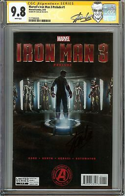 Marvel's Iron Man 3 Prelude #1 CGC 9.8 NM/MT Signed STAN LEE Robert Downey Cover