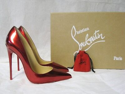 07635f0418c0  775 Christian Louboutin AUTH NIB So Kate Red Metal Patent 120MM Pump 36