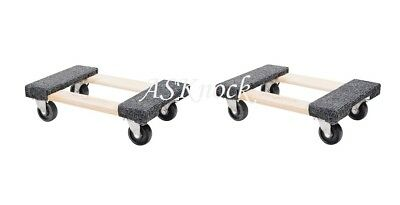 """2X 1000lb 12""""x18"""" Furniture Moving Dolly Movers Heavy Duty Caster Appliance"""