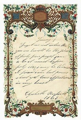 Antique 1845 MANUSCRIPT REMEMBRANCE POEM Handwritten Victorian ORNATE STATIONERY