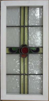 "MID SIZED OLD ENGLISH LEADED STAINED GLASS WINDOW Colorful Cross 15.5"" x 32.5"""