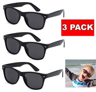 3 Pack Lot KIDS Toddler BOYS GIRLS Black CLASSIC RETRO SUNGLASSES SHADES Baby