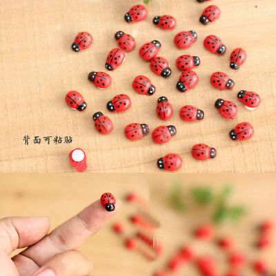50/100 pcs Miniature Dollhouse Fairy Garden Accessories Red Ladybug Clay Decor