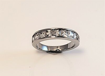Womens Princess Cut CZ Stainless Steel Band Ring Only Sizes 5, 8.5, 9.5 Remain