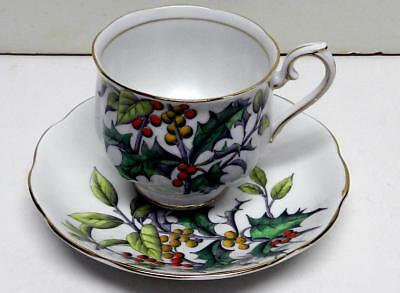 "Royal Albert Bone China England Cup& Saucer ""Holly"" #12 Flower Of The Month"