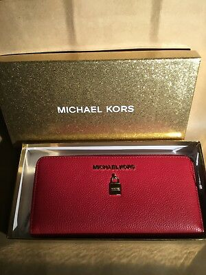 4178bdde800e New Michael Kors Adele zip around Continental wallet Leather Scarlet   gift  Box