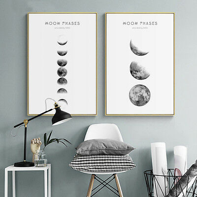Moon Phases Canvas Abstract Poster Nordic Print Minimalist Wall Art Painting