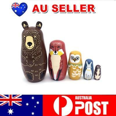 AU 5PCS Wooden Bear Nesting Doll Craft Wishing Doll Handmade Painted Gift