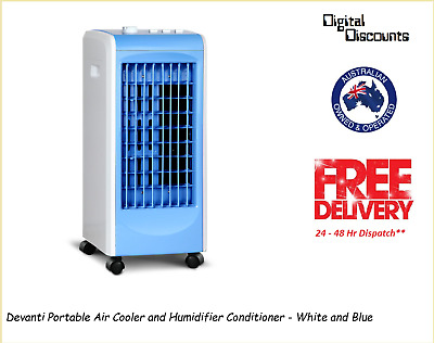Devanti Portable Air Cooler and Humidifier Conditioner - White and Blue