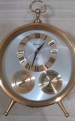 Vintage Bulova Table Clock Tempeture & Hydrometer