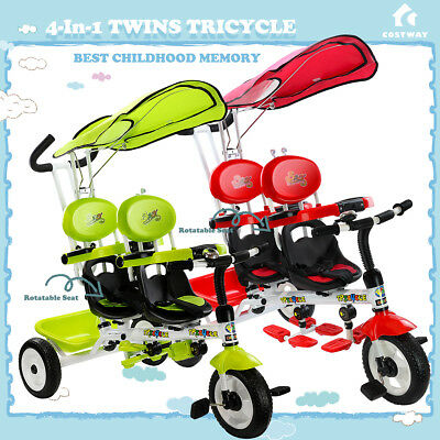 4 In 1 Twin Kid Baby Toddler ride on Toy Trike Stroller Tricycle Rotatable Seat