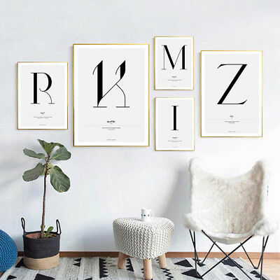 A to Z Letter Art Canvas Painting ABC Motivational Poster Print Modern Decor