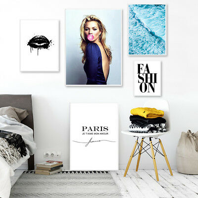 Kate Moss Lips Fashion Canvas Poster Print Wall Art Painting Girls Bedroom Decor
