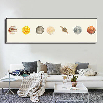 Solar System Canvas Poster The Sun Planets Comets Meteors Print Wall Decor