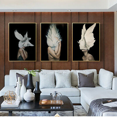 Feather Woman Abstract Canvas Poster Wall Art Print Nordic Decoration Picture