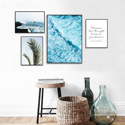 Nordic Style Canvas Poster Ocean Wave Leaf Landscape Wall Art Prints Picture