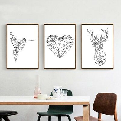 Abstract Geometric Deer Bird Heart Canvas Poster Art Print Home Wall Decor