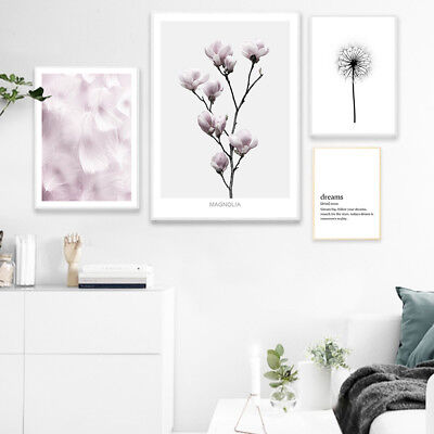 Flower Feather Wall Art Canvas Poster Dream Quote Abstract Print Nordic Decor