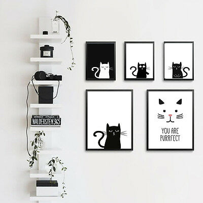 Nordic Minimalist Art Cartoon Cat Canvas Poster Print Modern Baby Kid Wall PIC