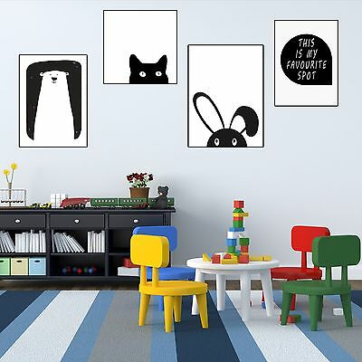 Cartoon Animal Canvas Poster Nordic minimalist Art Painting Modern Wall Decor