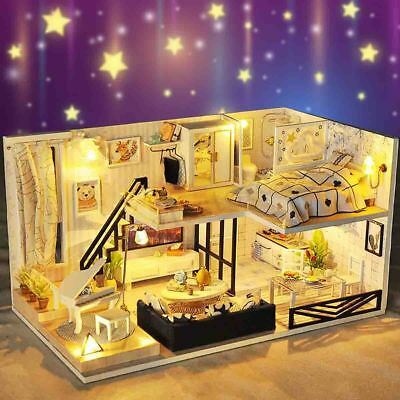 DIY LED Loft Apartments Dollhouse Miniature Wooden Furniture Kit Doll House Gift