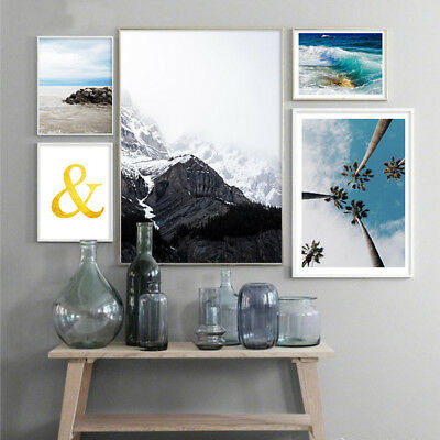 Nordic Canvas Landscape Ocean Sea Beach Poster Scandinavian Wall Art Prints