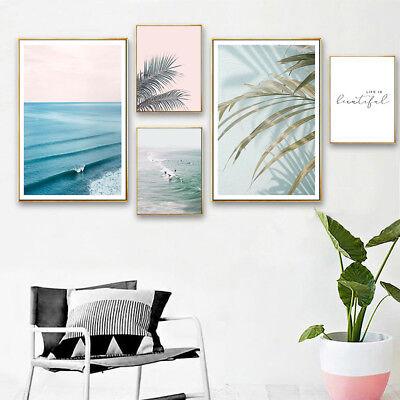 Nordic Style Canvas Landscape Poster Sea Beach Leaf Cactus Wall Art Prints