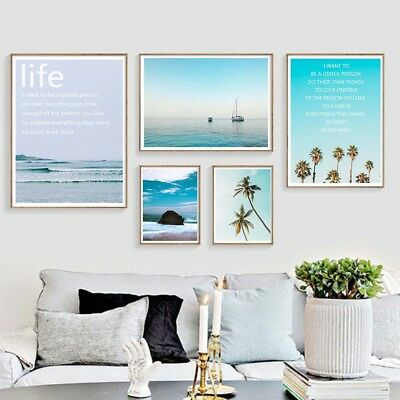 Tropical Sea Palm Tree Landscape Wall Art Canvas Poster Print Nordic Style Decor