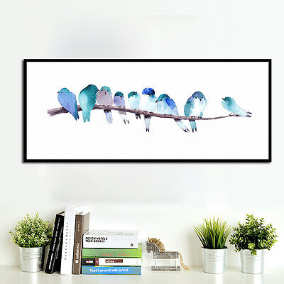Watercolor Birds Canvas Poster Art Print Modern Minimalist Wall Picture Decor