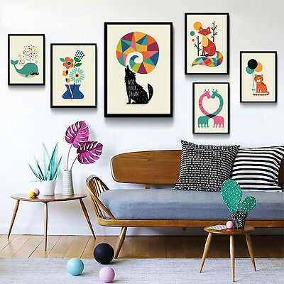 Cartoon Animal Canvas Poster Nordic Art Print Modern Home Decor for Kids