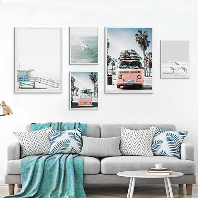 Sea Beach Bus Nordic Style Canvas Landscape Poster Wall Art Prints Home Decor