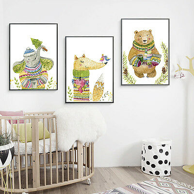 Cartoon Animal Canvas Poster Print Nursery Nordic Art Modern Wall Decor for Kids