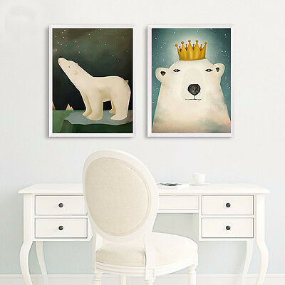 Cartoon Bear Art Canvas Poster Art Print Modern Home Wall Decor for Kids