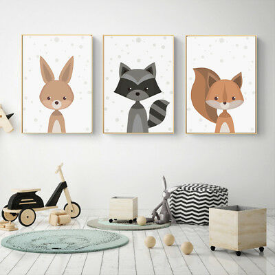 Cartoon Fox Animal Canvas Poster Nordic Art Prints Baby Kids Room Wall Decor