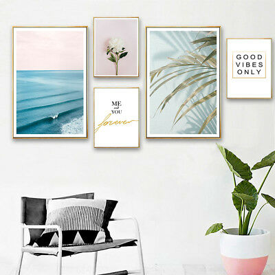 Flower Leaf Canvas Poster Ocean Landscape Wall Art Print Nordic Style Picture