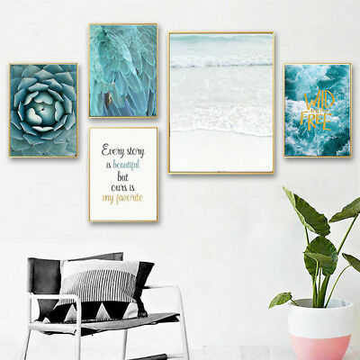 Nordic Style Ocean Feather Wall Art Canvas Poster Scandinavian Landscape Prints