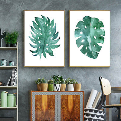 Watercolor Leaves Plants Canvas Poster Picture Print Art Wall Decor