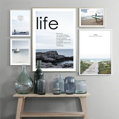 Nordic Style Sea Coastal Wall Art Canvas Poster Scandinavian Landscape Prints