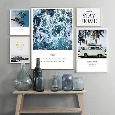 Nordic Style Ocean Waves Sea Beach Canvas Poster Landscape Wall Art  Prints