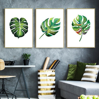 Watercolor Leaves Canvas Poster Plants Minimalist Art Prints Home Wall Decor