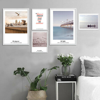 Nordic Style Canvas Landscape Poster Sea Beach Minimalist Wall Art Prints